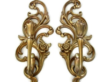 Vintage Syroco Gold Candle Sconces Wall Hanging Hollywood Regency Decor 1970's