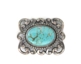 Danecraft Sterling Silver Repousse Turquoise Art Glass Brooch