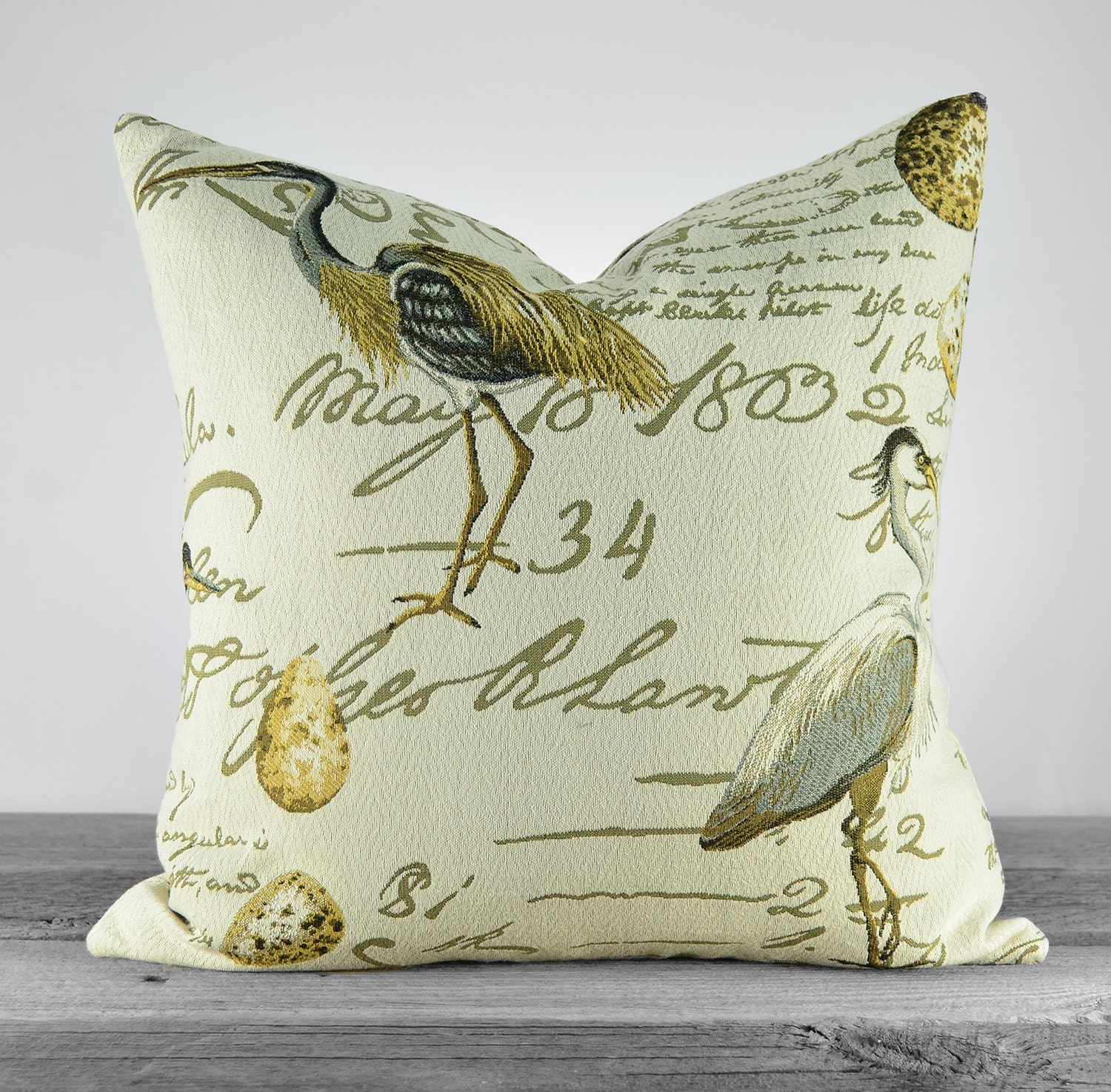 Newport Throw Pillows Birds : Decorative Bird Pillow Cover Coastal Birds with Script