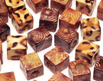 Cube Wood Beads Earthtone 8mm -  Square Printed Wood Beads (d198013)