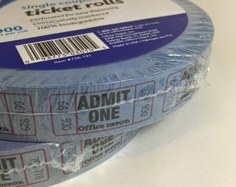 Blue Ticket Roll  / 2,000 BLUE Admit One Tickets, Raffle Carnival Circus Theme Festival Birthday Wedding Tickets