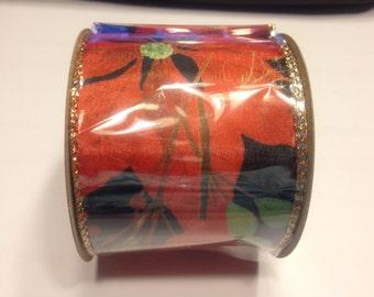 12 feet of Poinsettia Holiday ribbon, 64 mm wide (B12)