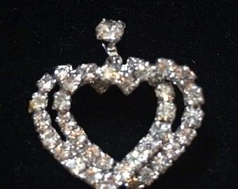 Vintage Rhinestone Double Heart Pendant