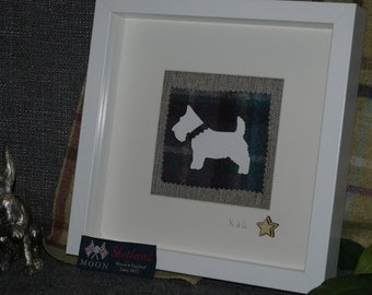 Westie dog on Tweed (Abraham Moon) Framed Gift