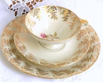 vintage floral teacup trio german porcelain teacup shabby chic multicolor flowers floral tea cup trio  619