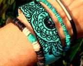 Turquoise Black Cloth Textile Henna Tattoo Mendhi Embroidered Bracelet Wood Suede