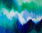 """Ikat original painting, abstract art on 24X36 inch canvas in green & blue, called:  """"Emerald Ikat IV"""""""