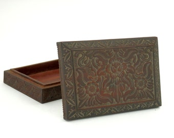 Antique Chinese Ink Stone Box made of Carved Teak
