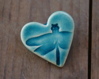 Dragonfly Heart shaped ceramic brooch in Teal