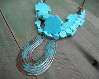 Lucky You Horeshoe Necklace/Southwestern/Southwest/Native American/Boho/Turquoise