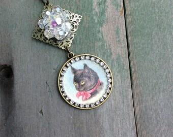 Sunday Best Kitten Pendant/Retro/Boho/Cottage Chic/Cat