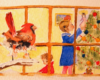 Northern Cardinal,  aceo print,  Christmas scene,  miniature print,  SantasSongbird
