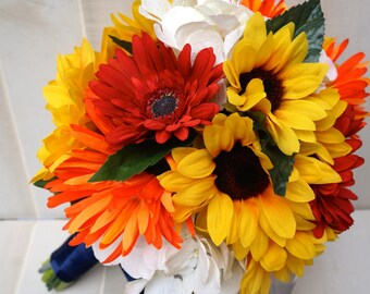 Bridal Sunflower, Red & Orange Daisy and Ivory Hydrangea Bouquet with Navy Blue Ribbon, Sunflower Bouquet, Sunflower Wedding, Daisy Bouquet