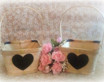 Rustic Wedding  Two Flower Girl Basket  with Chalkboard Hearts ready to personalize