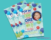 Bubble First Birthday DIY Printable Party Invitation. Great for a Boy First Birthday. Customized just for you.
