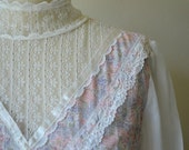 Vintage 1970s GUNNE SAX Dress - Lavender and Pink Floral Full Length