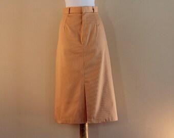 Tan A-line skirt