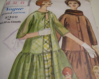 Vintage 1960's Vogue 4238 Special Design Dress and Coat Sewing Pattern, Size12, Bust 32