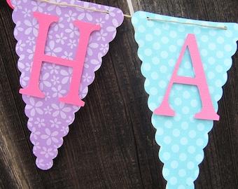 Purple,Teal, Turquoise, Dark Pink Happy Birthday Banner, Birthday Banner,