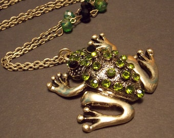 Green and Black Frog Statement Necklace