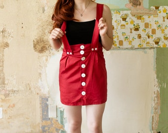 SALE!!! Red suspenders skirt small size 2