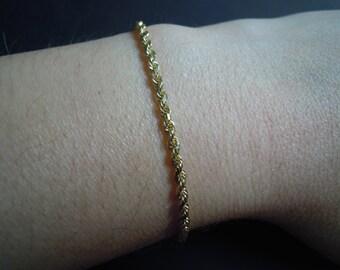 14K Gold Solid Rope Bracelet Vintage