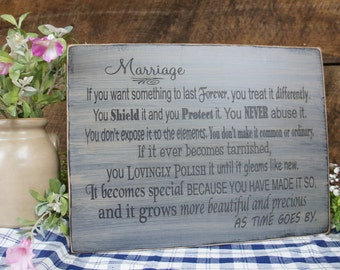 Marriage Poem on Antiqued Distressed Sign. Wives and Newlyweds love this sign. They also make great  Anniversary Gifts
