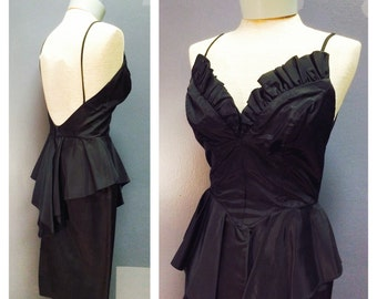 SINFUL SEDUCTRESS Vintage 1950's Style 1980's Jet Black Taffeta Cocktail Party Dress w Ruffled Plunging Boned Bust & Peplum Wiggle Skirt S