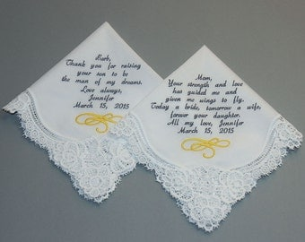 Mother of Bride & Mother of Groom Wedding handkerchief Embroidered Personalized Custom (#5071)
