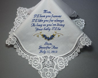 Mother of Bride Wedding Handkerchief by Embroidered Personalized  (#L)