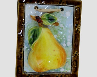 Little pear ceramic picture,hand made