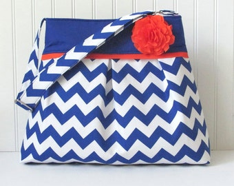 Chevron Diaper Bag in Royal Blue and Orange or Choose Your Own Boy or Girl Messenger Nappy