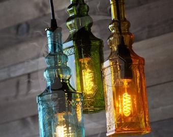 The Moroccan - Repurposed Glass Bottle Chandelier