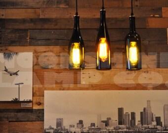3 Wine Bottle Pendant Lamp Hanging Lamp Track Light Edison Lightbulb