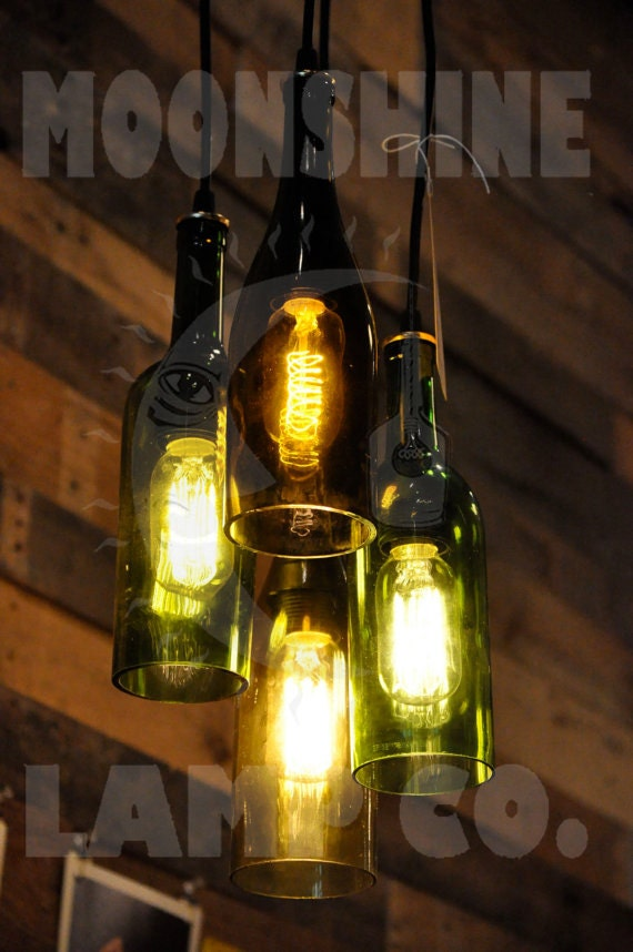 4 light chandelier recycled wine bottle pendant lamp hanging. Black Bedroom Furniture Sets. Home Design Ideas