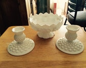 1960s Fenton Hobnail-Milk Glass Candle Bowl & Pair of Single Taper Candlesticks