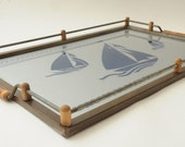 Sailboat Wooden Serving Tray with Handles