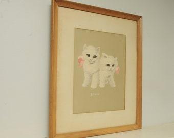 Vintage White Cat Painting Wood Frame