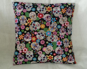 "sugarskull mexican skull, day of the dead, decorative pillow,   cushion cover 16"" x 16"""