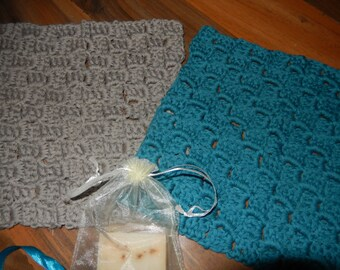 set of 2 lovely crocheted cotton wash cloths, crochet face cloths teal and grey with Lemon Myrtle homemade soap