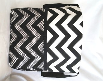 Black & White Chevron Wheelchair Bag