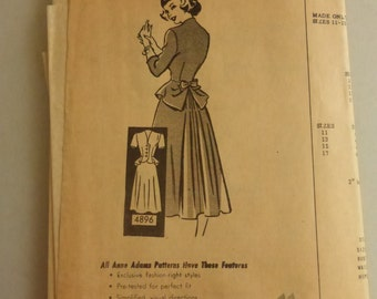 Vintage Anne Adams Mail Order Pattern 4896 Junior Size 11 Suit