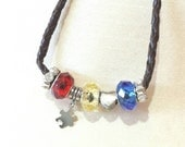 Autism Awareness Leather Cord Beaded Choker, Autism Gift, Puzzle Necklace, Mother's Day Present