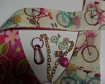 """Crossbody Bag Reversible Washable  """"FLOWERED BICYCLES""""  Purse  with Keychain / Bagcharm"""