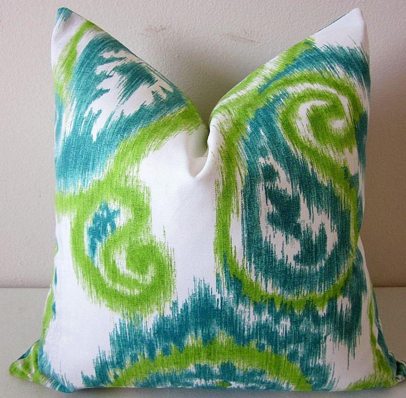 Paisley Pillows Ikat Pillow Cover Lime Teal Pillows Boho