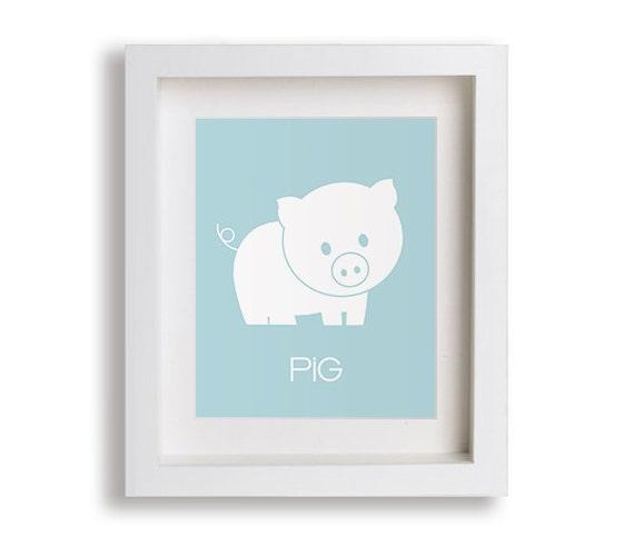 Pig Baby's Art Print - Nursery Art Print, Farm Decor, Baby's First Art Print, Kids Wall Art, Playroom Art, Childrens Art, Farm Animal Art