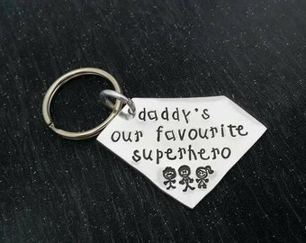 Handstamped Father Keyring. daddy's our favourite superhero Aluminium Fathers Day gift - Dad - Daddy - Son - Daughter - Hero - Superhero