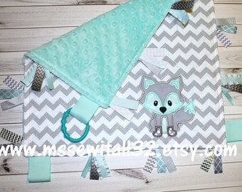 Tag Blanket - Personalized - Quilted - Chevron - Minky - Baby Lovey Blanket - Sensory Blanket - Design Your Own