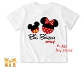 Big sister shirt Minnie & Mickey Tshirt - Personalized Big sister Shirt or Bodysuit - 027_BS-2C_minniemickey