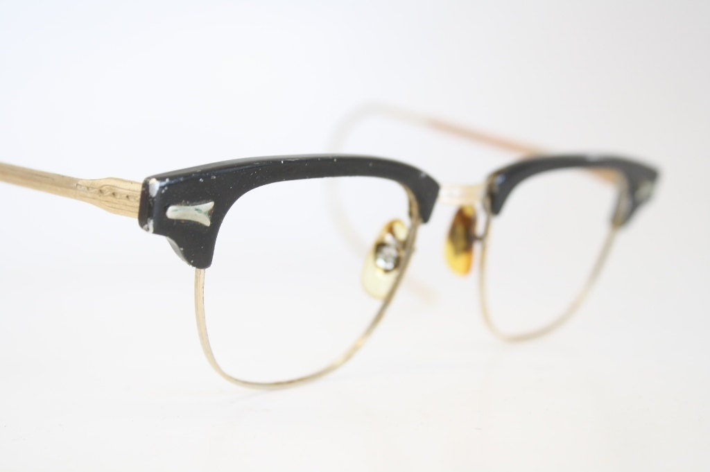 Browline 1950s Wire Rim Eyeglasses G Man Clubmaster Style